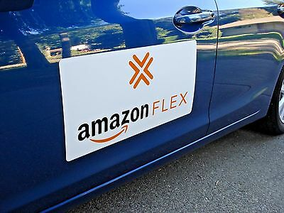"(1 Pair) Large AMAZON FLEX  100% Magnetic CAR VEHICLE SIGNS  12"" x 24"" FREE SHIP"