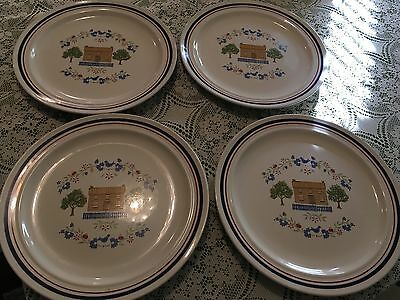 Four Newcor Stoneware Homespun Dinner Plates