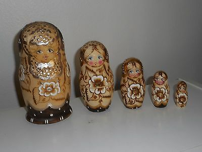 Russian Nesting Dolls 5 Pc Set Matryoshka Raw Wood With Silver Accents SIGNED