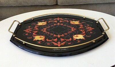 Signed Mastellone Giuseppe ITALY Sorrento Marquetry Inlaid Wood Oval Tray