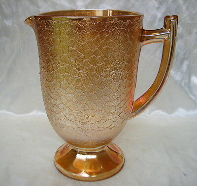 """Vintage Carnival Glass 8"""" Marigold CRACKLE Pitcher by Imperial Glass"""