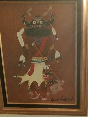 """Native American Navajo Painting by """"CHARLIE WHITE EAGLE"""" VINTAGE Famous Actor!"""