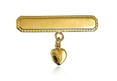 Baby Girls 22K G/pl S/silver Rectangular  Baby Brooch With Heart Drop Charm