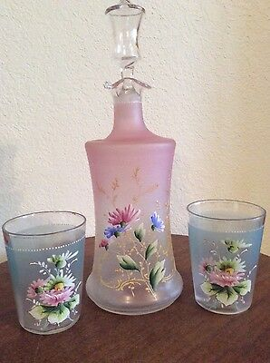 Pink & Blue Frosted Glass Carafe & Glass Set Vintage/Antique,  Hand Painted