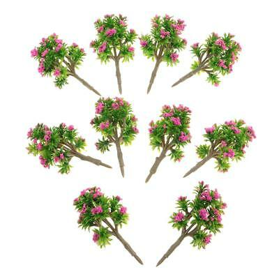 10x Plastic DIY Model Trees Z Gauge w/ Rose Red Layout Wargame Scene Diorama