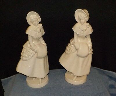 ANTIQUE PAIR OF LARGE PLANTER  VICTORIAN LADIES WITH Muff & BONNET