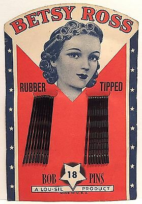Vintage Betsy Ross Bob Pins 18 Rubber Tipped On Card A Lou-Sil Product USA Made