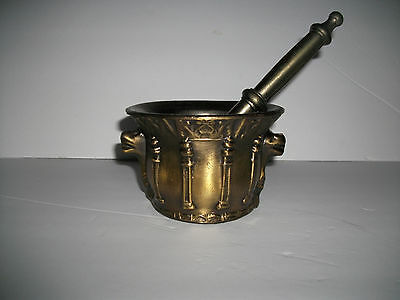 Vintage Pharmacy Heavy Mortat And Pestle W/snake Head Handles