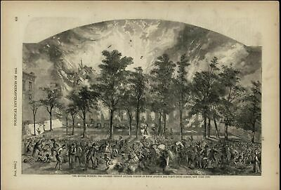 Rioters Burning Colored Orphan Asylum Chaos 1868 great old print for display