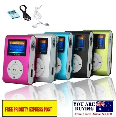 Mini USB Clip MP3 Player With LCD Screen Charger & Earplug up to 32GB SD Card