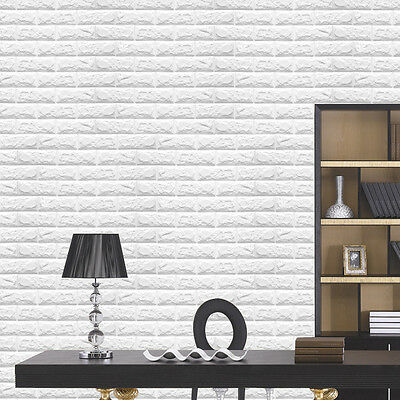 60*60cm 3D PE Foam Self-adhesive Wall Sticker Stone Brick Background Room Decor