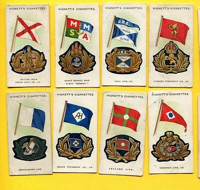 1930 Hignett Bros & Co. Ships Flags & Cap Badges 8 Different Card Lot