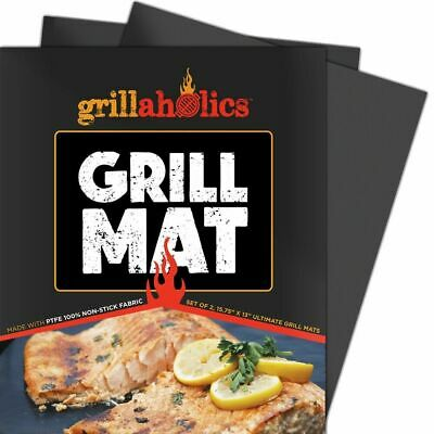 Grillaholics Grill Mat - Set of 2 Nonstick BBQ Grilling Mats - 15.75 x 13 Inch