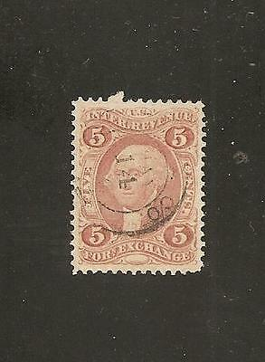 US R26c- 5c Foreign Exchange Perforated w/Excellent Centering & Hand Stamp