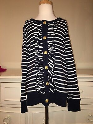 next Navy White Soft Cotton Warm Long Sleeve Gold Buttons Top Sz.11y. Girls