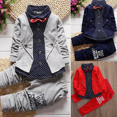AU 2pcs Toddler Baby Boys Kids Shirt Tops+Long Pants Clothes Outfits Gentleman