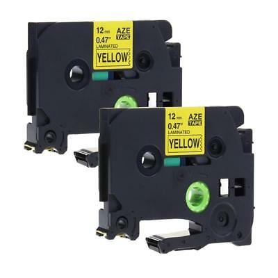 2PK Black on Yellow Label Tape TZe631 TZ631 Compatible for Brother P-touch 12mm