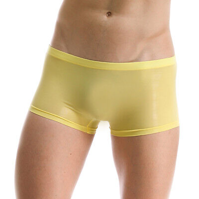 Men Seamless See through Underwear Boxer Briefs