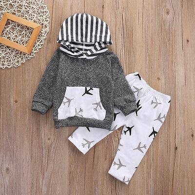 USA STOCK Kids Baby Boys Airplanes Hooded Coat + Pants Clothes 2Pcs Outfits Set