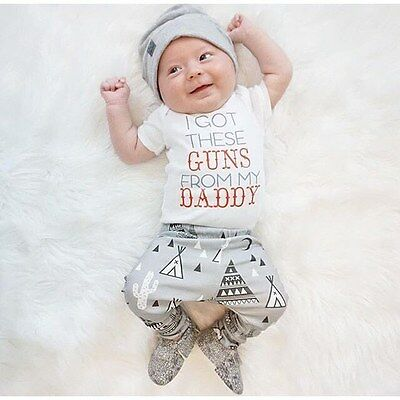 Newborn Baby Boys Girl Outfits T-shirt Tops+Long Pant+Hat Clothes Set 0-24M AU