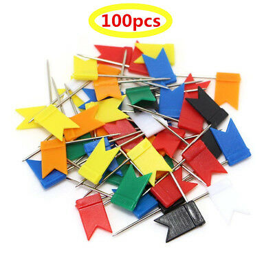 100 x Flag Push Pins Cork Notice Board Map Pins Thumbtacks Tack Thumb Office