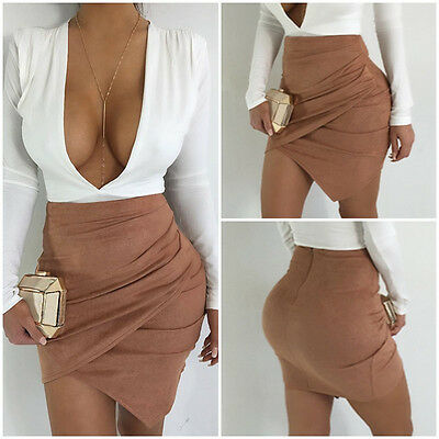 Women High Waist Lace Up Suede Leather Pocket Preppy Bodycon Mini Skirt UK STOCK