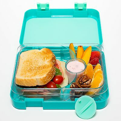 Bento Lunch Box Container Green Double Leak Proof For Kids Adults 4 Compartment