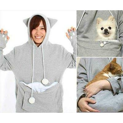 AU Unisex Kangaroo Pet Dog Cat Holder Carrier Coat Pouch Large Pocket Hoodie Top