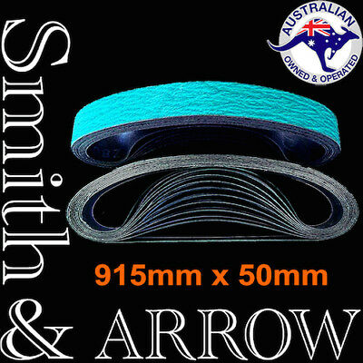 LINISHING BELTS 915mm 914mm x 50mm MIXED GRIT SANDING 40 60 80 120 # ZIRCONIA x5