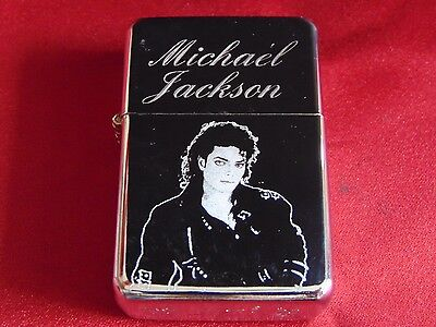 Michael Jackson Engraved / Impact Printed Fuel STAR Lighter With Gift Box