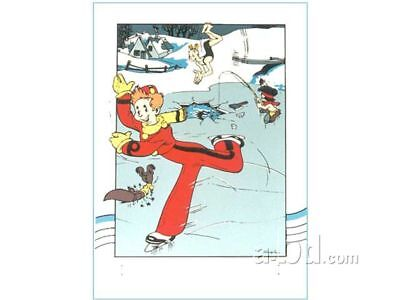 Affiche Sérigraphie Spirou et Fantasio Spirou patineur Archives Internationales