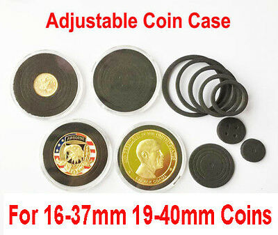 50 Acrylic Clear Capsules Coin/Medal/Badge Holder Case Display Box+Black Ring AU