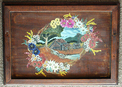 Hand Painted Folk Art Australian Homestead & Flora Scene On Vintage Wooden Tray