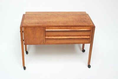 Vintage Danish Teak Work Sewing Box Table - FREE Shipping [PL2027B]