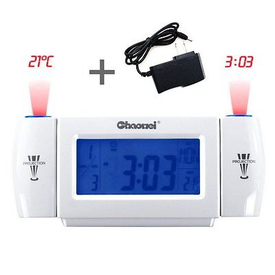 Digital LED Projector Alarm Time Clock Dual Laser Wall Projection Temperature