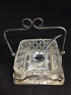 Victorian Silver Plated Holder & Cut Glass Jam Dish with Spoon