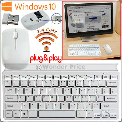 Slim White 2.4GHz Wireless Keyboard and Cordless Mouse Set For Desktop PC Laptop