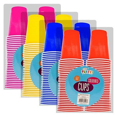 Pack of 60 Plastic Coloured Childrens Disposable 170m Party Cups Tumblers Mugs++