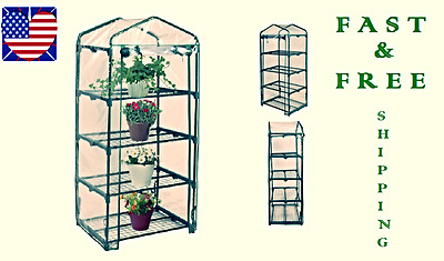 "63"" Mini Portable Garden Green House Plants Growth Protection 4 Tier PVC Cover"