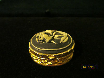Gold Colored Trinket Box With Black Cameo Hinged Lid