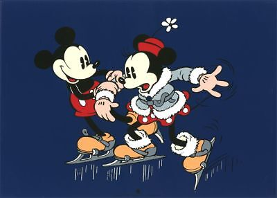 Affiche Sérigraphie Mickey Mouse Mickey et Minnie patinent, Disney Christian Des