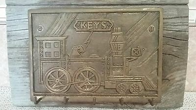 Vintage Solid Brass Train 5 Hook Key Holder Wall Plaque on Old Wood Awesome Find