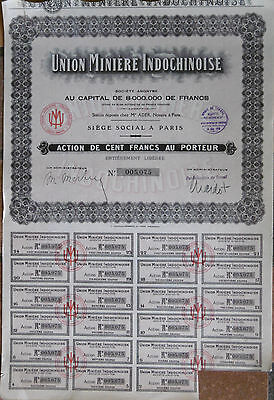 Lot de 100 actions Union Minière Indochinoise Indochine Asie bond Indochina Mine