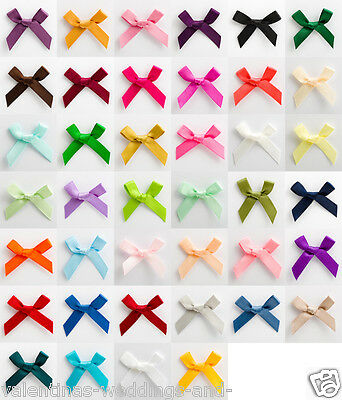 3cm Pre Tied Satin Bows - 10 Pack - Cards Favours Crafts Embellishment