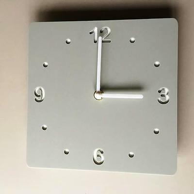 Square Light Grey Mat & White Backed Clock White Hands Silent Sweep Movement
