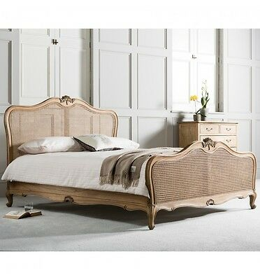 Frank Hudson Luxury Weathered Wood French 5ft King Size Bed Rattan Headboard