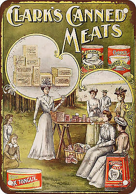 """7"""" x 10"""" Metal Sign - 1900 Clark's Canned Meats - Vintage Look Reproduction"""