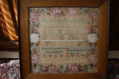 1842 Antique Sampler with a poem by M.E. Pye