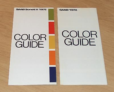 "VTG 1972 INTERIOR & Exterior 'COLOR GUIDES' for ""SAAB"" Swedish Automobile~SONETT"