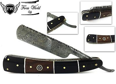 FW®- Damascus Steel Straight Razor Cut Throat Barber Salon Shaving Razor Vinatge